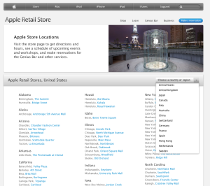 Apple stores in 14 countries
